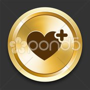Heart Favorite on Golden Internet Button Stock Illustration