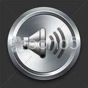 Speaker Icon on Metal Internet Button - stock illustration