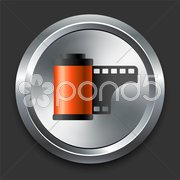 Photo Reel Icon on Metal Internet Button Stock Illustration
