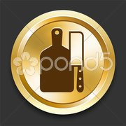 Cutting Board on Golden Internet Button Stock Illustration