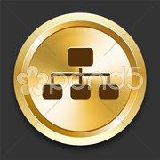 Diagram on Golden Internet Button Stock Illustration
