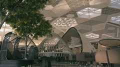 Fragment of airport interior in Baku, designer interior cafe Stock Footage