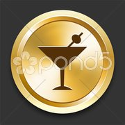 Martini on Golden Internet Button Stock Illustration