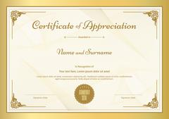 Certificate of appreciation template with vintage gold border Stock Illustration