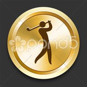 Golf on Golden Internet Button Stock Illustration