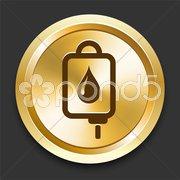 IV Blood Drip on Golden Internet Button Stock Illustration