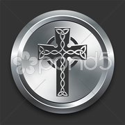 Religious Cross Icon on Metal Internet Button Stock Illustration