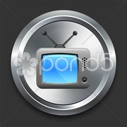 Television Icon on Metal Internet Button Stock Illustration