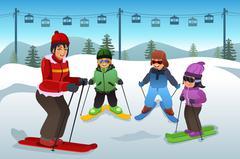 Ski Instructor Teaching Children Stock Illustration
