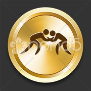 Wrestling on Golden Internet Button Piirros