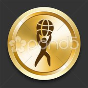 Man Holding Globe on Golden Internet Button - stock photo