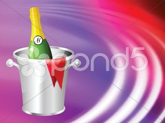 Champagne on Abstract Liquid Wave Background Stock Illustration