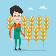 Farmer in wheat field vector illustration Stock Illustration