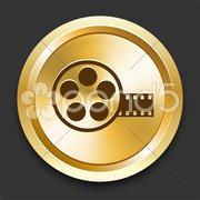 Film Reel on Golden Internet Button - stock illustration