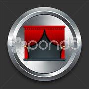Stage Icon on Metal Internet Button Stock Illustration