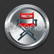 Director Chair Icon on Metal Internet Button Stock Illustration