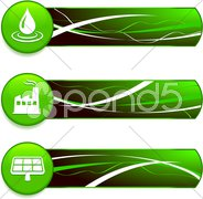 Green Nature Icons on Internet Buttons with Banners Stock Illustration
