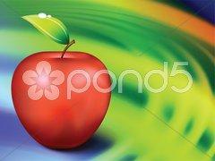 Apple on Abstract Liquid Wave Background Stock Illustration