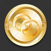 Engagement Rings on Golden Internet Button Stock Illustration