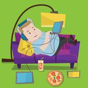 Man lying on sofa with many gadgets Stock Illustration
