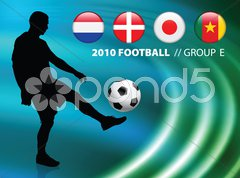 Soccer Player on Abstract Liquid Wave Background Stock Illustration