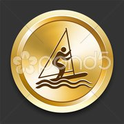 Sail on Golden Internet Button Stock Illustration