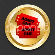 Admission Tickets on Golden Internet Button Stock Illustration