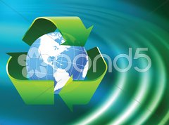 Globe on Abstract Liquid Wave Background - stock photo