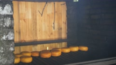 Smoked cheese on the oven, the cooking process Stock Footage
