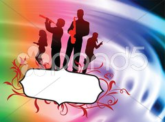 Live Music Band on Abstract Liquid Wave Background Stock Illustration