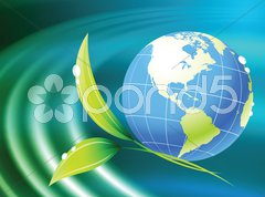 Globe on Abstract Liquid Wave Background Stock Illustration