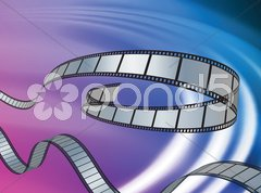Film Reel on Abstract Liquid Wave Background Stock Illustration