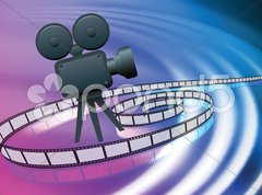 Film Camera on Abstract Liquid Wave Background Stock Illustration