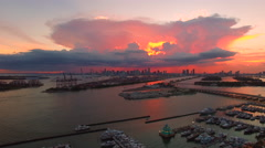 AERIAL - Sunset - The sky is on fire Amazing red and pink clouds on a beautif Stock Footage