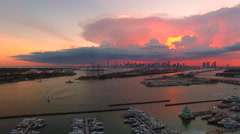 AERIAL - Sunset  - Amazing Footage of the bay from Miami Beach Florida into d Stock Footage