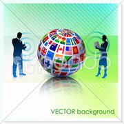 Business Couple with Flag Globe on Vector Background Stock Illustration
