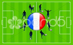 France Flag Icon Internet Button with Soccer Match Stock Illustration