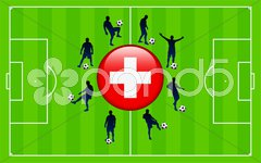 Switzerland Flag Icon Internet Button with Soccer Match Stock Illustration