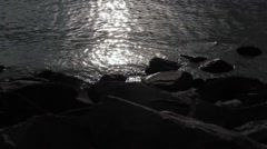 Stone beach on The Gulf of Finland at the night time Stock Footage