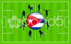 Cuba Flag Icon Internet Button with Soccer Match Stock Illustration
