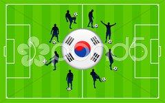 Korea Republic Flag Icon Internet Button with Soccer Match Stock Illustration