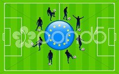 European Union Flag Icon Internet Button with Soccer Match Stock Illustration