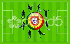 Portugal Flag Icon Internet Button with Soccer Match Stock Illustration