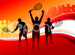 Tennis Team with Red Abstract Crowd Stock Illustration