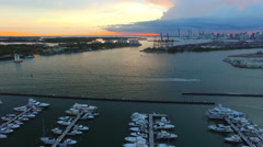 AERIAL - Sunset - Bay view from the Sky Stock Footage