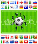 Soccer Team on Green Field - stock photo