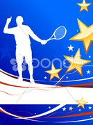 Tennis Player on Abstract Patriotic Background Stock Illustration
