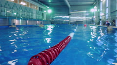 Plastic lanes in swimming pool. Lanes of competition swimming pool Stock Footage