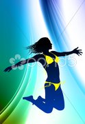 Sexy Young Woman on Abstract Color Background Stock Illustration