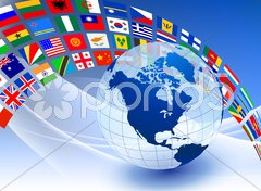Globe with Flag Banner on Abstract Color Background Stock Illustration
